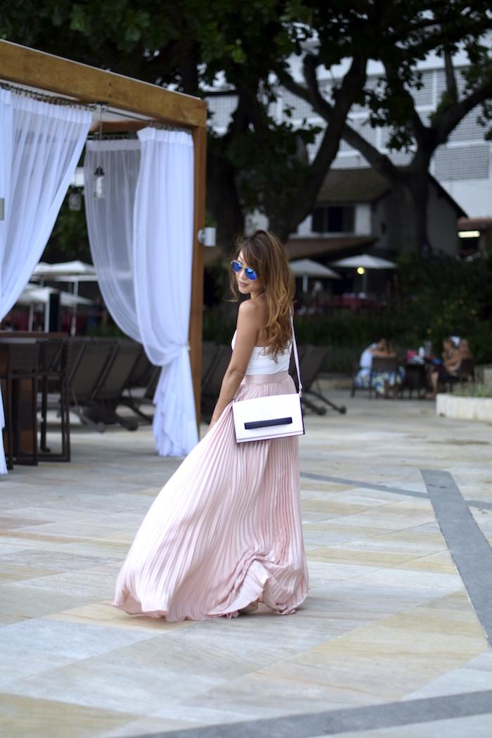 Pink Pleated Maxi Skirt Rio De Janeiro The Classy Cloud
