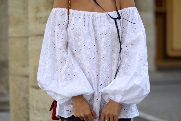 Bubble sleeve off shoulder