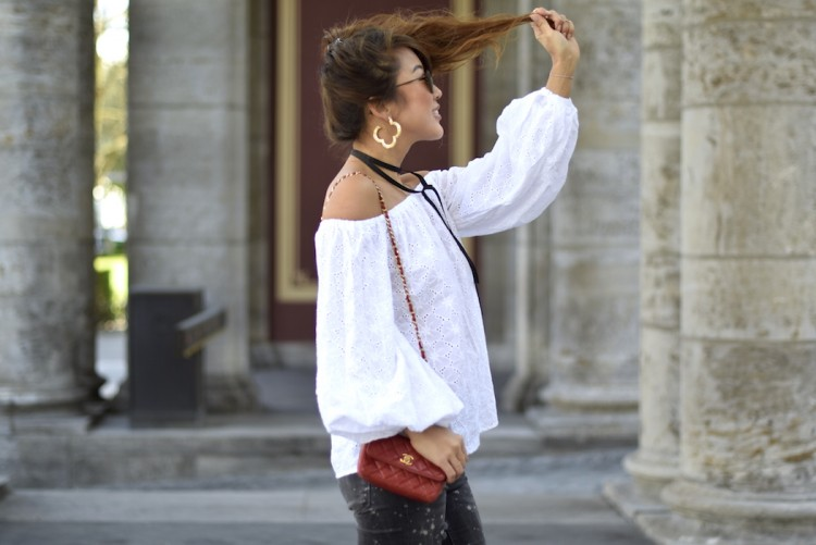 off shoulder top by SHEIN