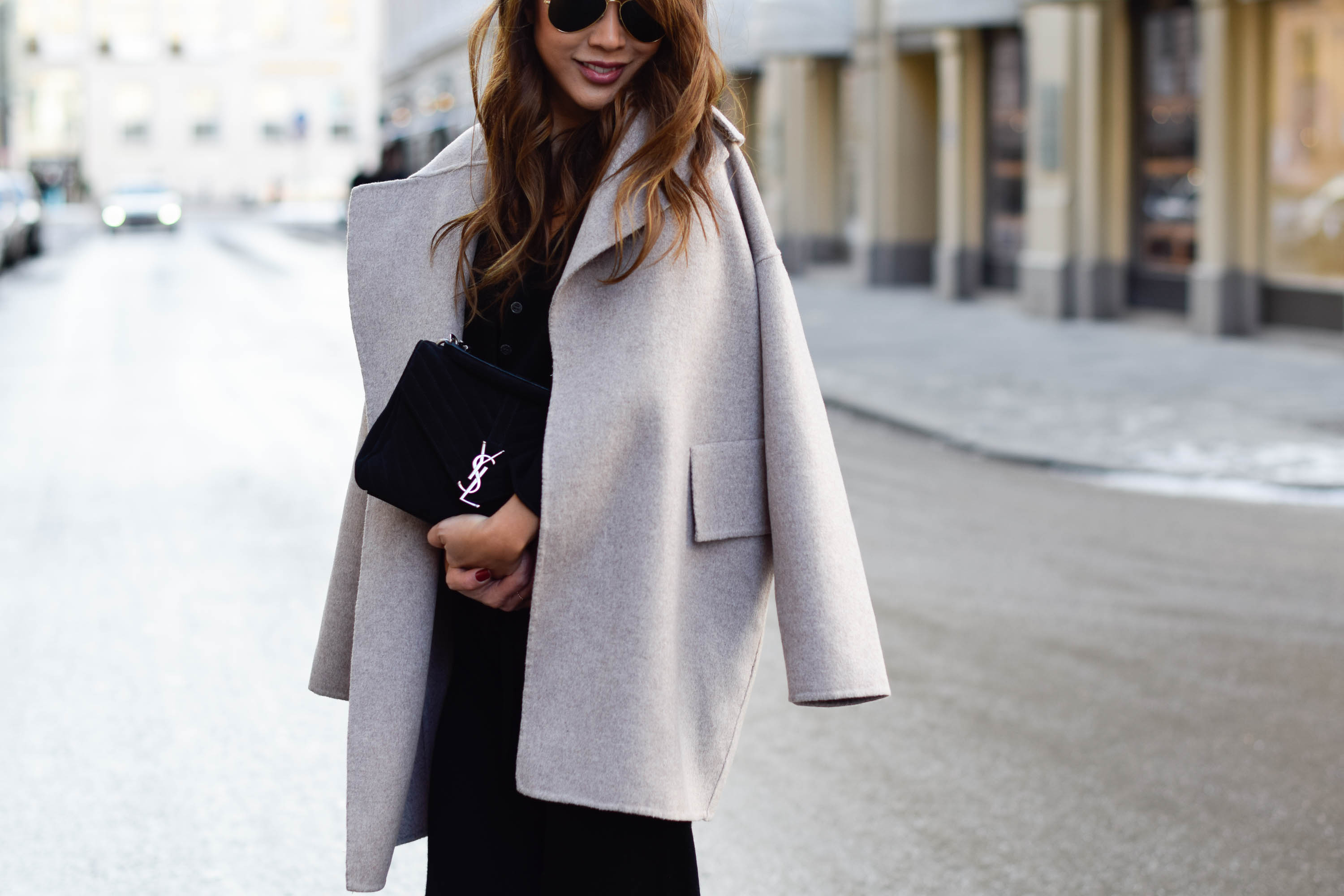 Oversize Cashmere Coat And Ysl Bag The Classy Cloud